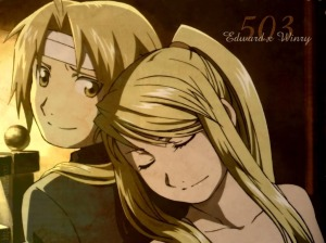 Ed is on the left and Winry is on the right.