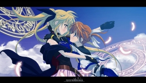 Fate is on the left and Nanoha is on the right.