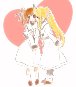 Nanoha on the left and Fate on the right. By: Tokoharu