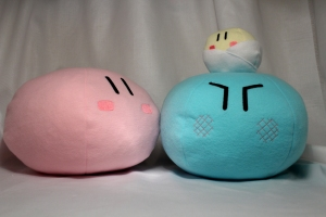 Happy dango is pink, Angry dango is blue, and baby dango is the small one. This is a photo from online found on DeviantArt